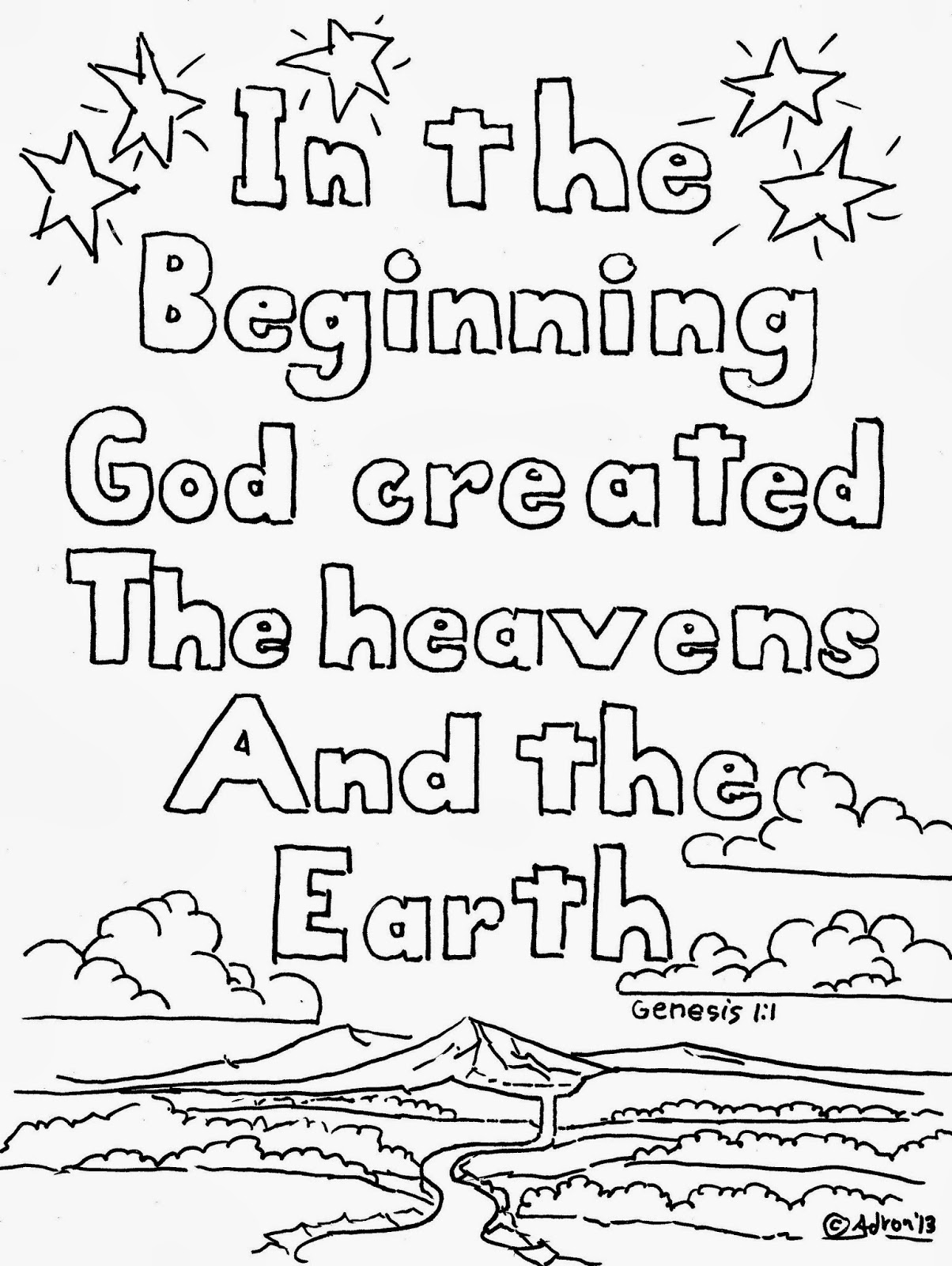 Coloring Pages For Kids By Mr Adron Genesis 1 1 Coloring