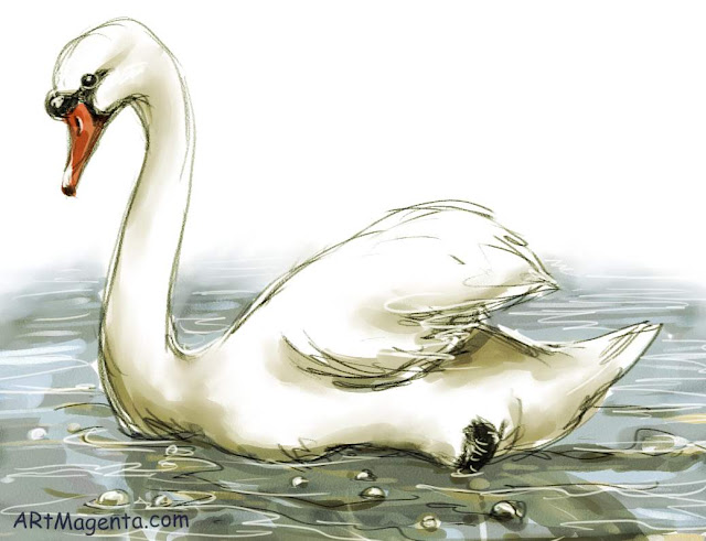 Swan sketch painting. Bird art drawing by illustrator Artmagenta