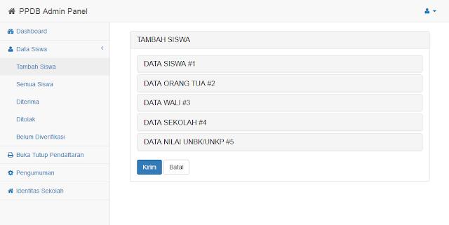tambah data siswa secara manual dari halaman admin panel ppdb