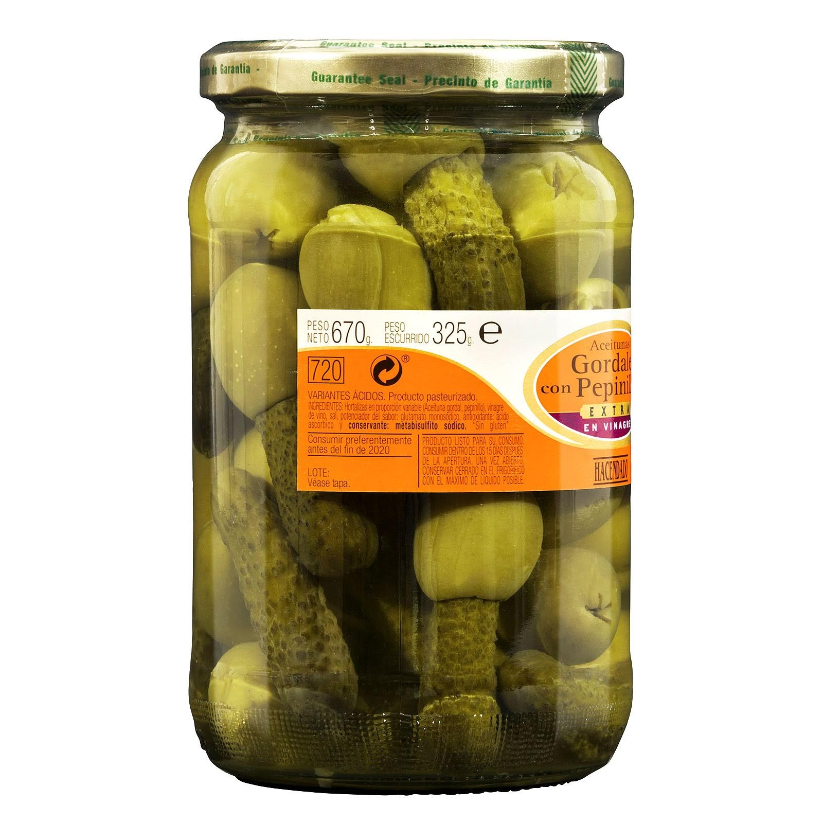 Aceitunas gordales con pepinillos extra en vinagre Hacendado
