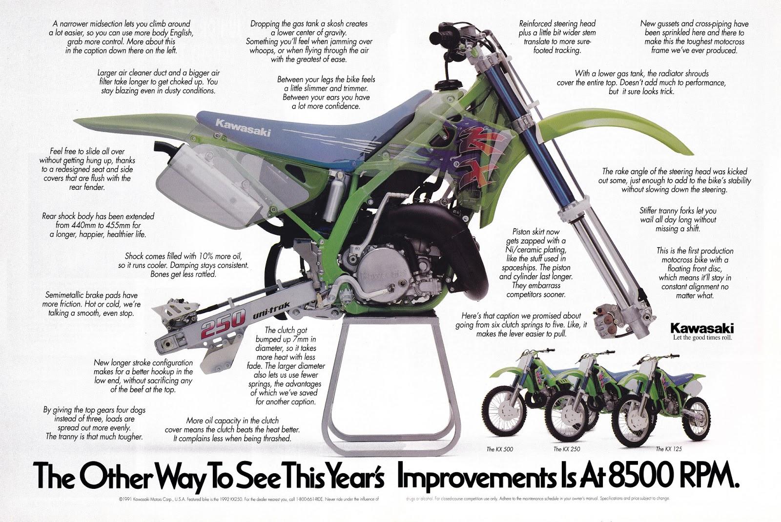 Racing Caf U00e8  Vintage Brochures  Kawasaki Kx Series 1992  Usa