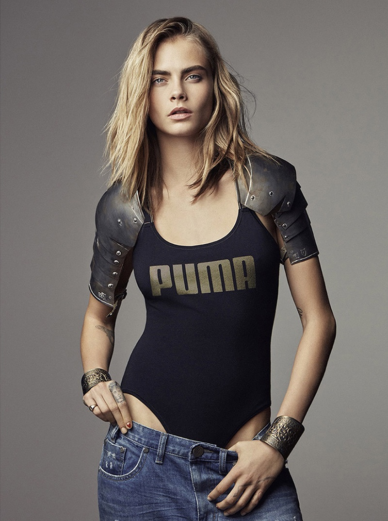 Model Cara Delevingne wears bodysuit in PUMA Do You campaign