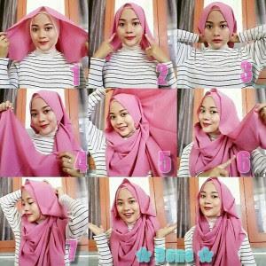 Cara memakai jilbab pashmina bahan satin