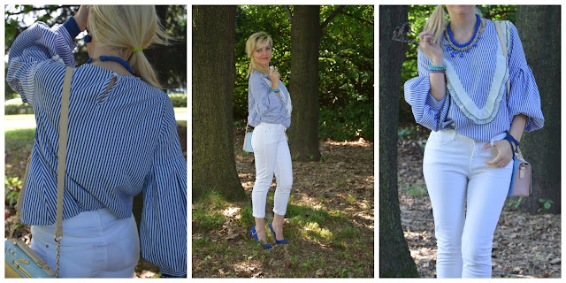 outfit jeans bianchi come abbinare i jeans bianchi camicia a righe azzurre come abbinare una camicia a righe azzurre white skinny jeans striped shirt outfit giugno 2017 outfit estivi fashion blog italiani fashion blogger italiane blog di moda blogger italiane di moda summer outfits june outfits