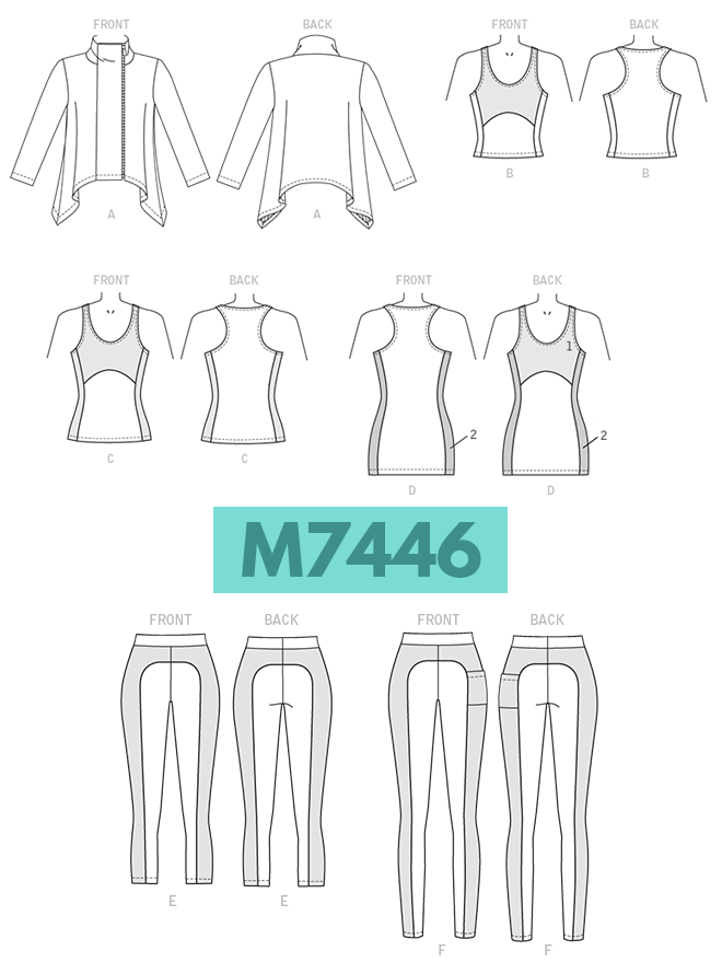 McCall's M7446 yoga sewing pattern features a swingy jacket, a tank in three lengths, and leggings in two lengths.