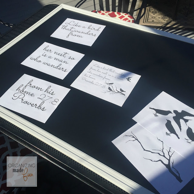 To make chalkboard art, begin by printing up font and pictures :: OrganizingMadeFun.com