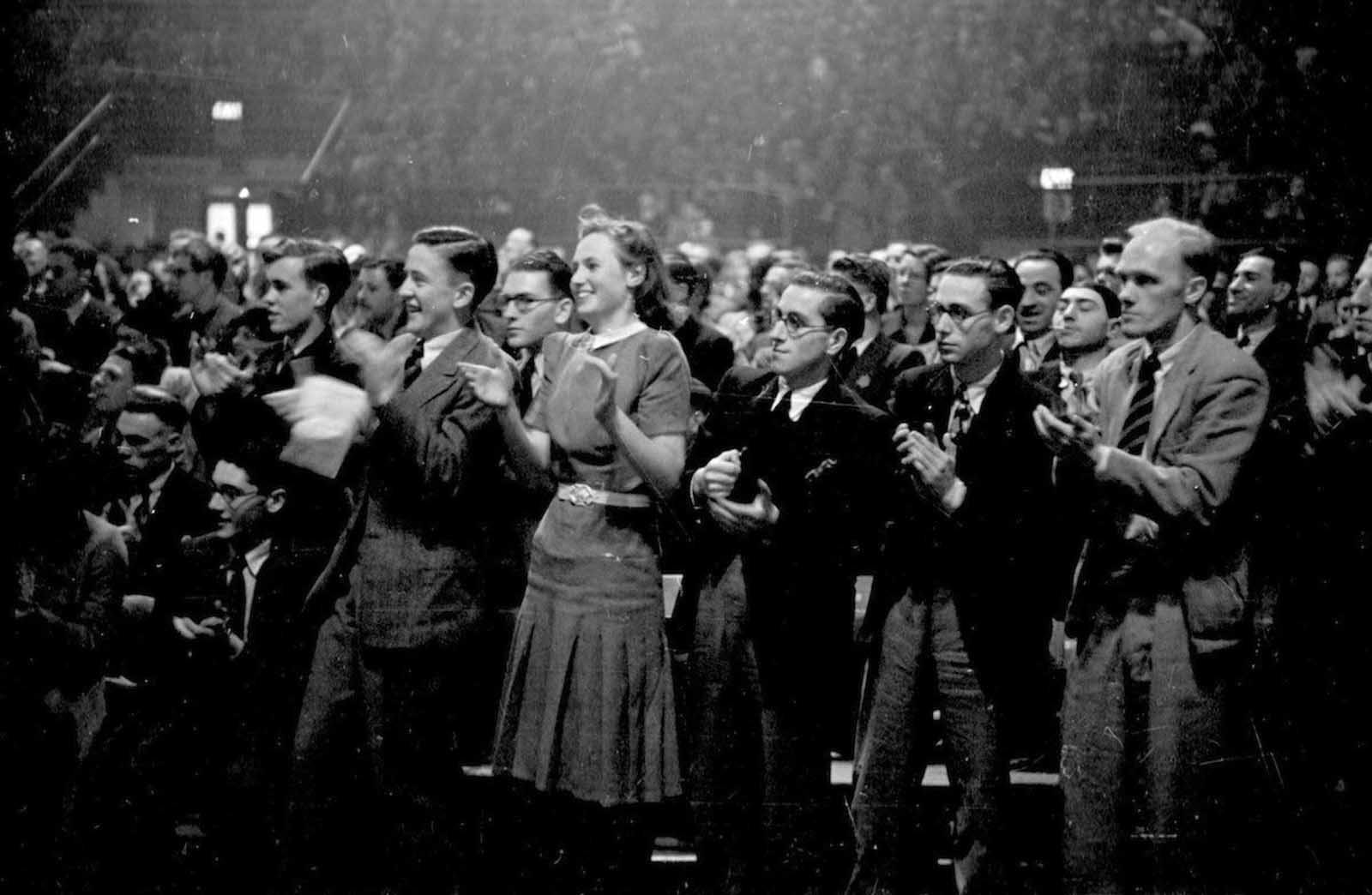 A crowd of over eight thousand people attending a meeting of the British Communist Party at the Empress stadium in Earls Court, London. 1939.