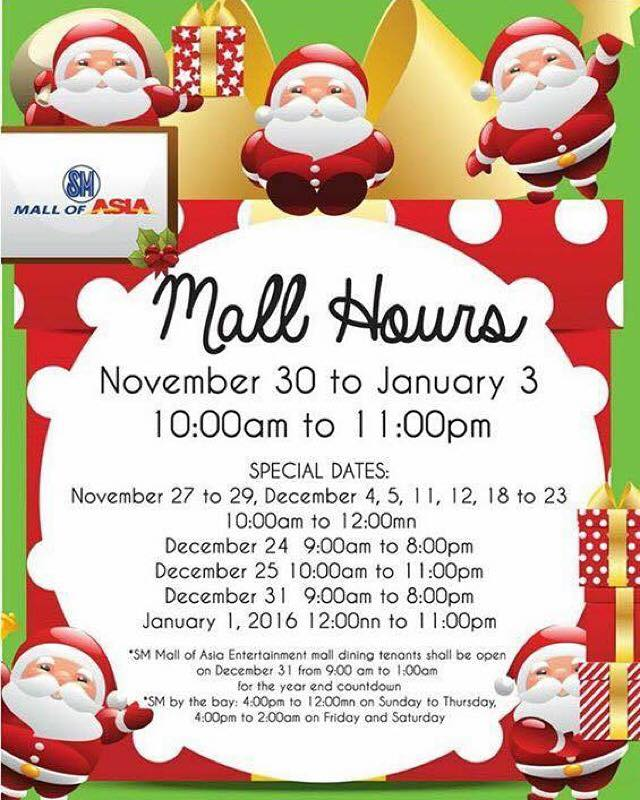 SM Mall of Asia schedule december 2015