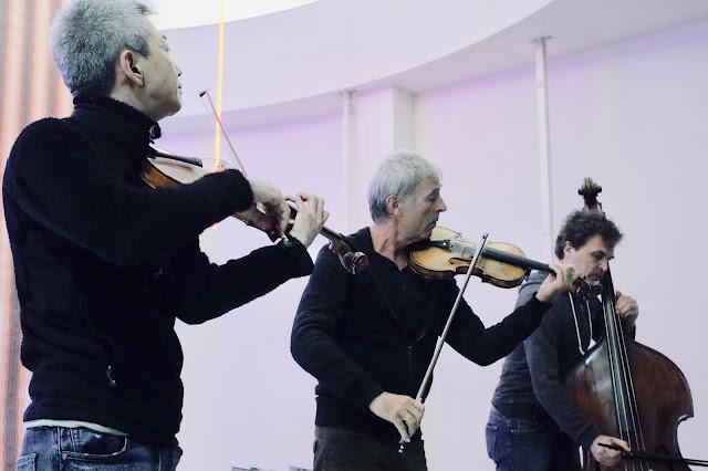 2018年11月4日 OFF/STRING: 喜多直毅(Vln)/ Harald Kimmig(Vln)/Sebastian Gramss(Cb) つくばアートセンター