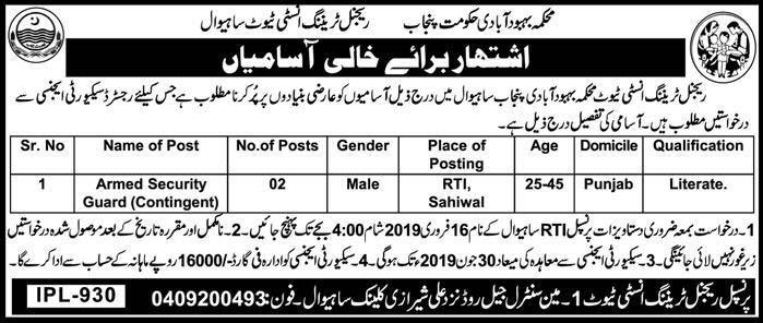 New Jobs in Regional Training Institute Sahiwal 2019 | Domicile Punajb