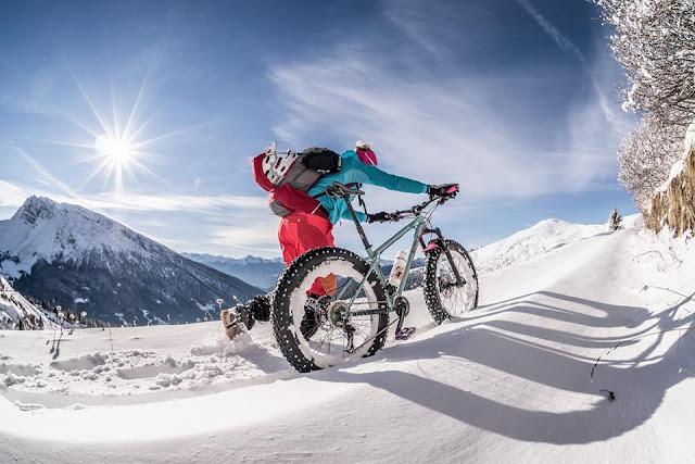 Fatbike Winter Hoher Lorenzenberg Aufstieg