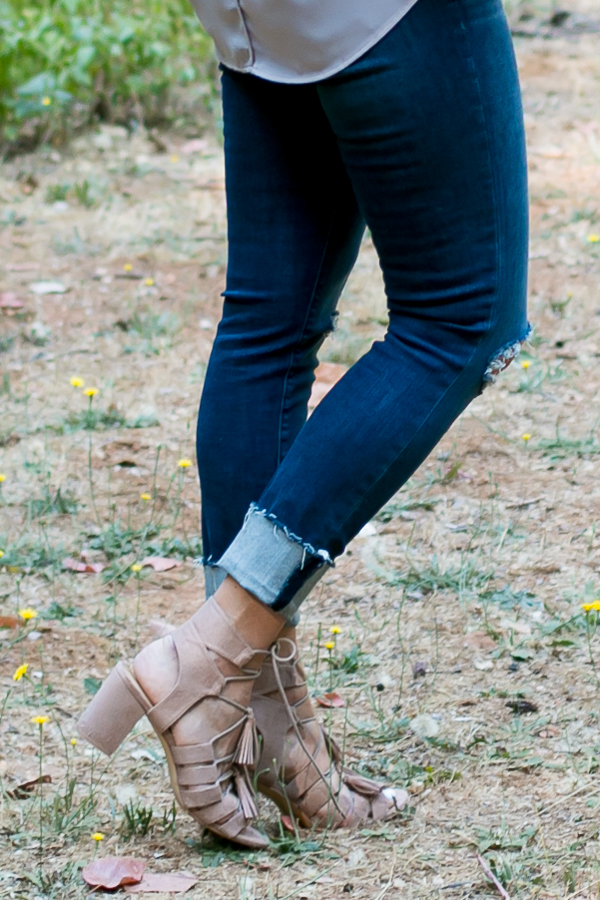 beige lace up tassel block heels