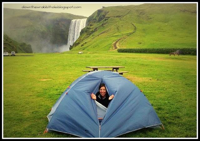 camping Skogafoss waterfall, camping Skogarfoss waterfall, Iceland camping
