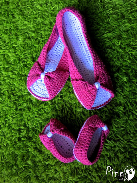 Me and Mini Me: Crochet Princess Slippers Pattern by Pingo - The Pink Penguin