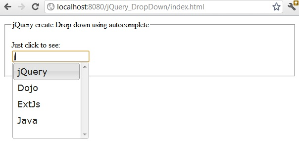 dropdown in jQuery using autocomplete and force selection