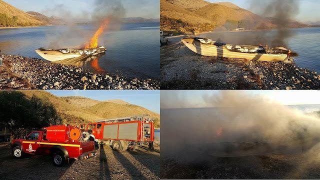Πυρκαγιά σε ταχύπλοο σκάφος στην Σαγιάδα με έναν τραυματία (+ΦΩΤΟ)