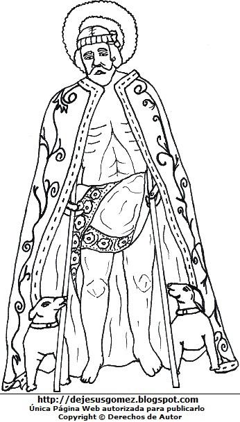 Dibujo San Lázaro con capa y corona para colorear o pintar. Ilustración de San Lázaro de Jesus Gómez