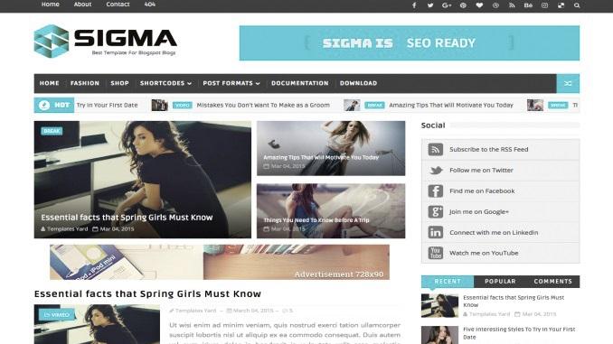 Plantilla blogger sigma premium gratis