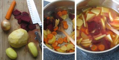 Zubereitung Borschtsch; Zubereitung Borschtsch Schritt-für-Schritt
