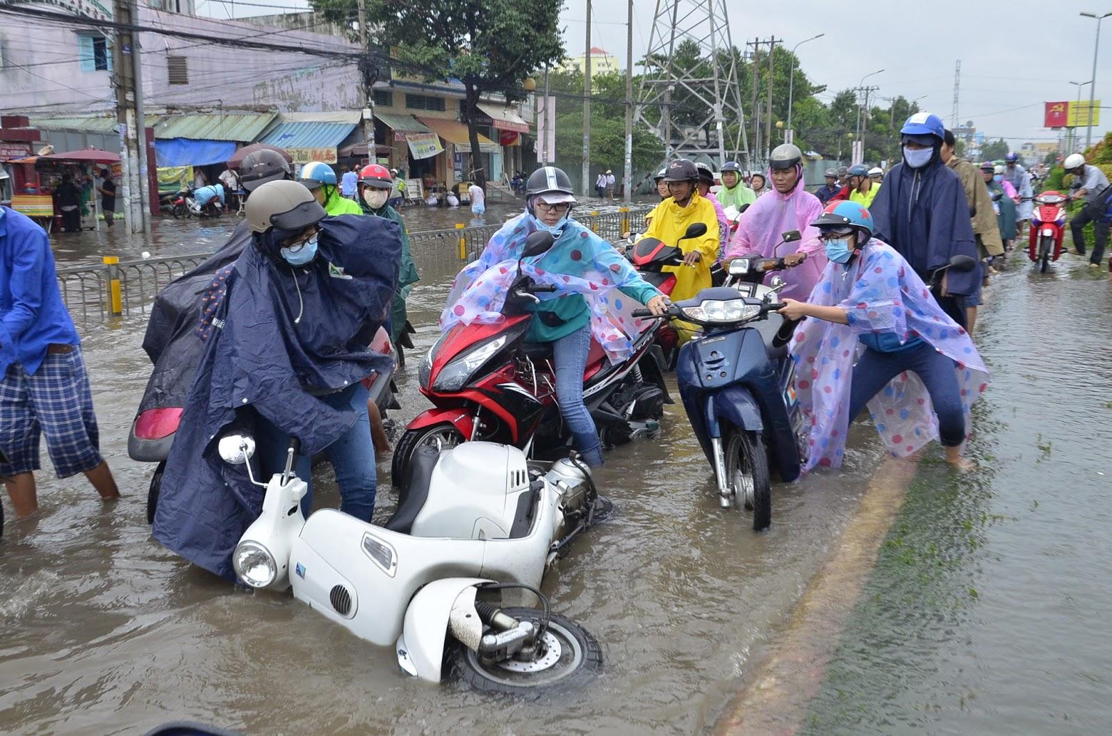 Nước ngập gần hết bánh xe, khiến nhiều chiếc xe bị chết máy giữa đường.