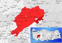 Sultandağı ilçesinin nerede olduğunu gösteren harita