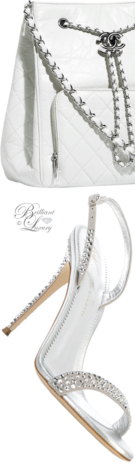 Brilliant Luxury ♦ Chanel white drawstring bag and Giuseppe Zanotti embellished slingback sandals