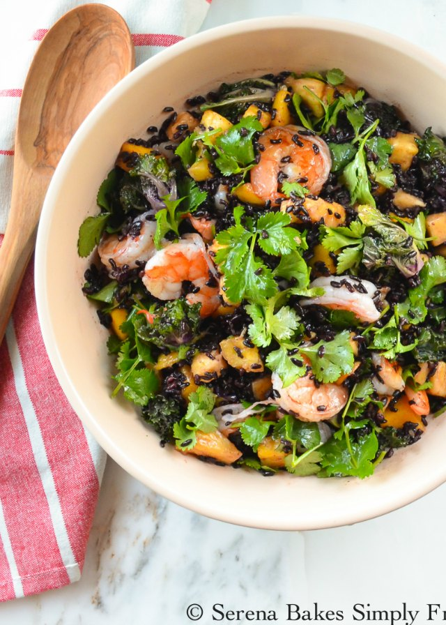 Asian Shrimp Black Rice Salad with Mango, Pineapple, Kale, and Cilantro is a light, hearty, filling meal from Serena Bakes Simply From Scratch.
