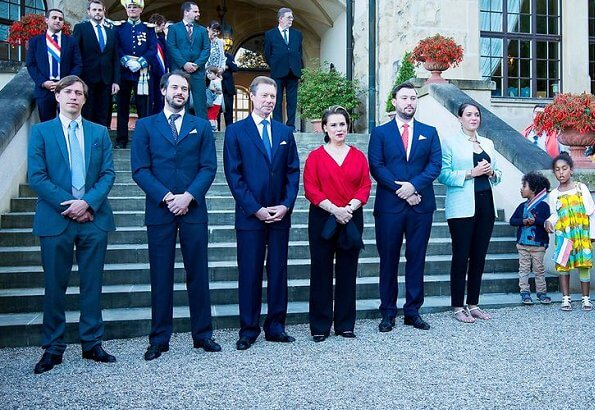 Prince Felix, Prince Louis, Princess Alexandra, and Prince Sebastien. Hereditary Grand Duke Guillaume and Hereditary Grand Duchess Stéphanie
