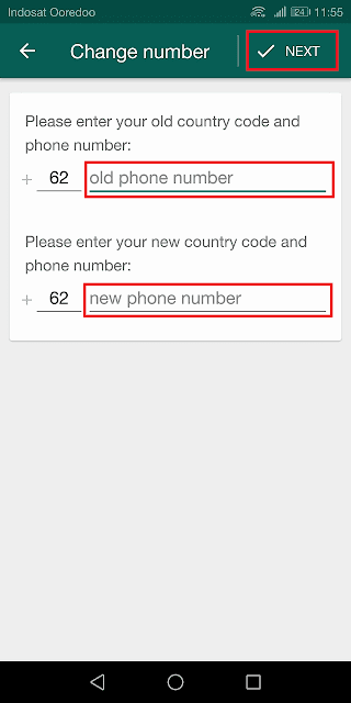 masukkan nomor lama dan nomor baru yang akan digunakan selanjutnya