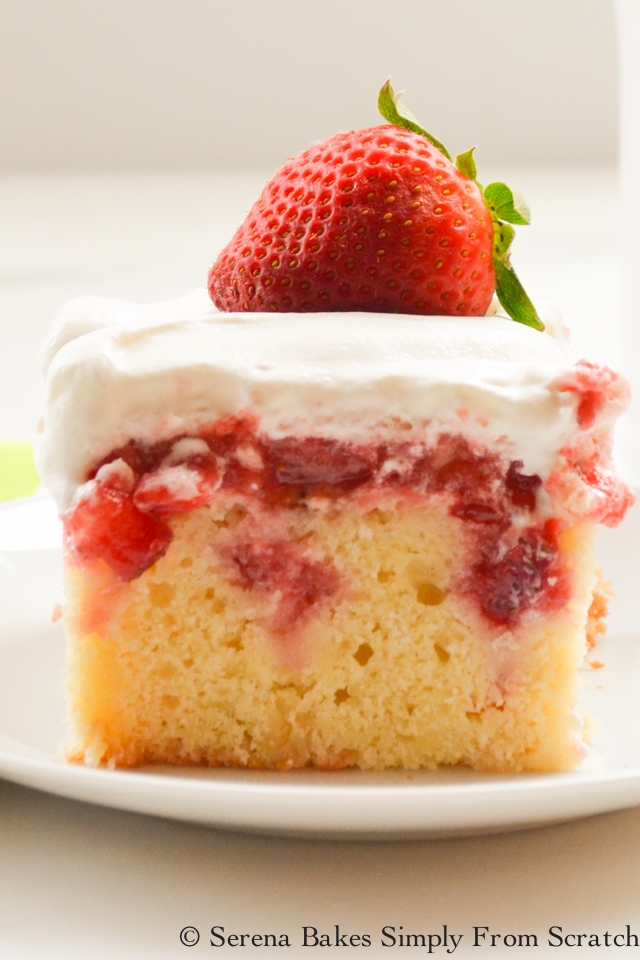 Strawberry Shortcake Poke Cake is a light yellow cake with fresh strawberries. Covered with whip cream. A favorite for Easter, brunch, and dessert from Serena Bakes Simply From Scratch.