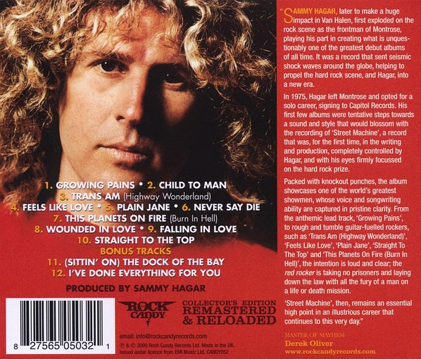 SAMMY HAGAR - Street Machine [Rock Candy remaster +2] back
