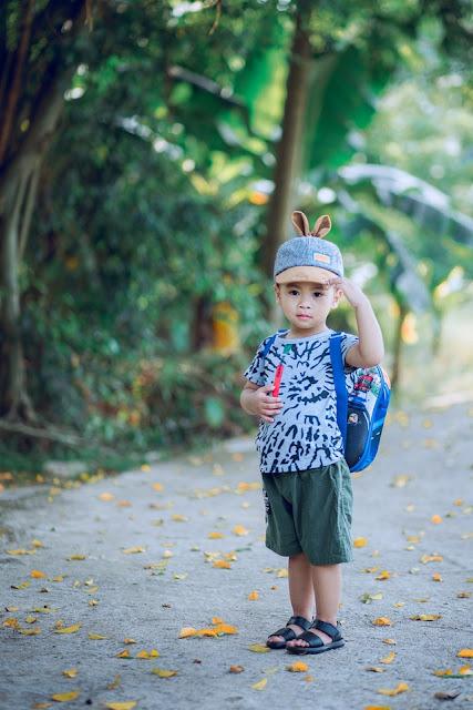 cute baby going school with bag dp