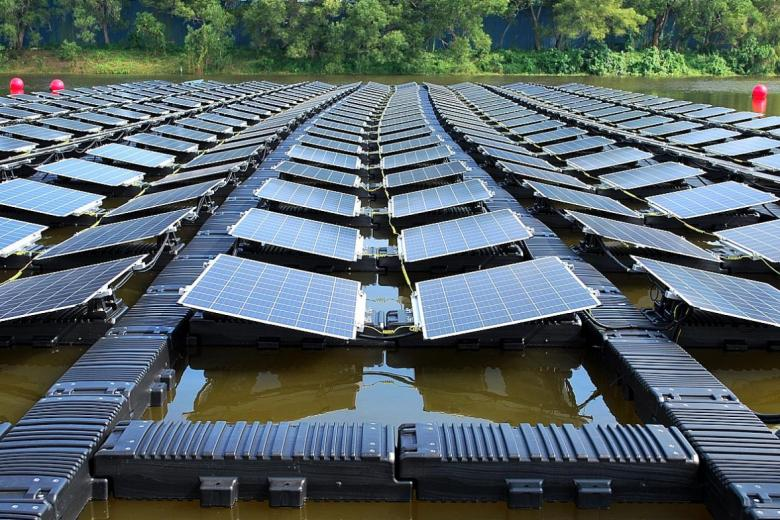 Solar panels at a test bed in Tengeh Reservoir in Tuas.