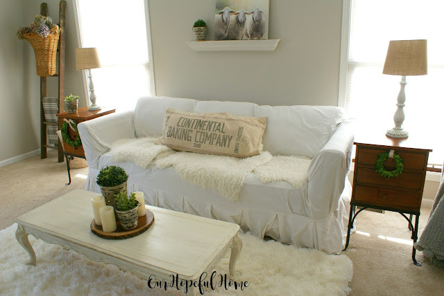 French farmhouse living room budget thrifted estate sale decor