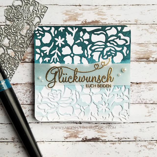 Kartenwerke: Karte für ein Hochzeitsalbum, Janine und Falk sagen Ja