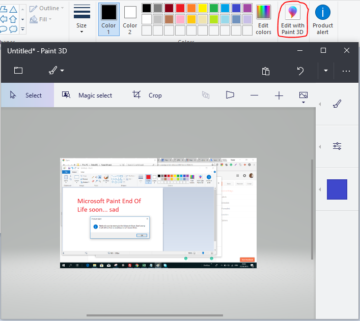 End of Life Microsoft Paint in Windows 10 2