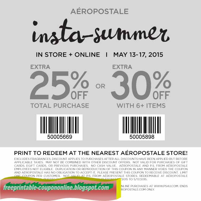 Find all the in-store and online Aéropostale coupons and promo codes that get you great deals on your favorite products right here at lasourisglobe-trotteuse.tk! Aeropostale. UP TO 80% OFF CLEARANCE GIRLS GUYS. % OFF + FREE SHIP ON ORDERS OVER $ 0. Aeropostale Coupons .