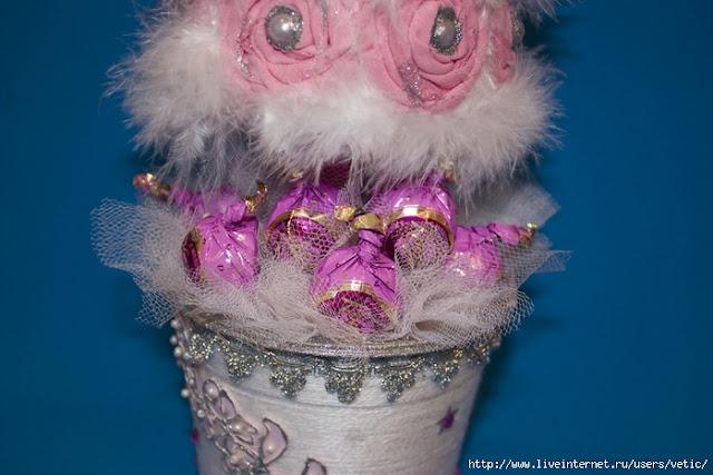 подарки, подарки на Новоый год, топиарий, елка своими руками, мастер-класс, топиарий своими руками, своими руками, интерьер новогодний, декор новогодний, Новый год, Рождество, декор праздничный, для интерьера,   елка из текстиля,  елка на конусе,Гламурная ёлка из трикотажных роз (МК), как сделать елку на конусе из текстиля своими руками http://prazdnichnymir.ru/