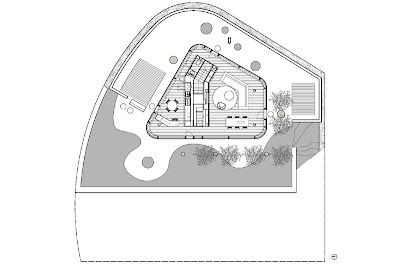 Glass pavilion house plan, Lake Lugano, Switzerland