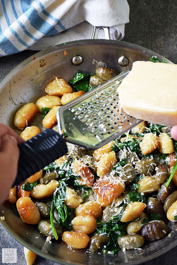 Pan Fried Gnocchi with Spinach and Parmesan