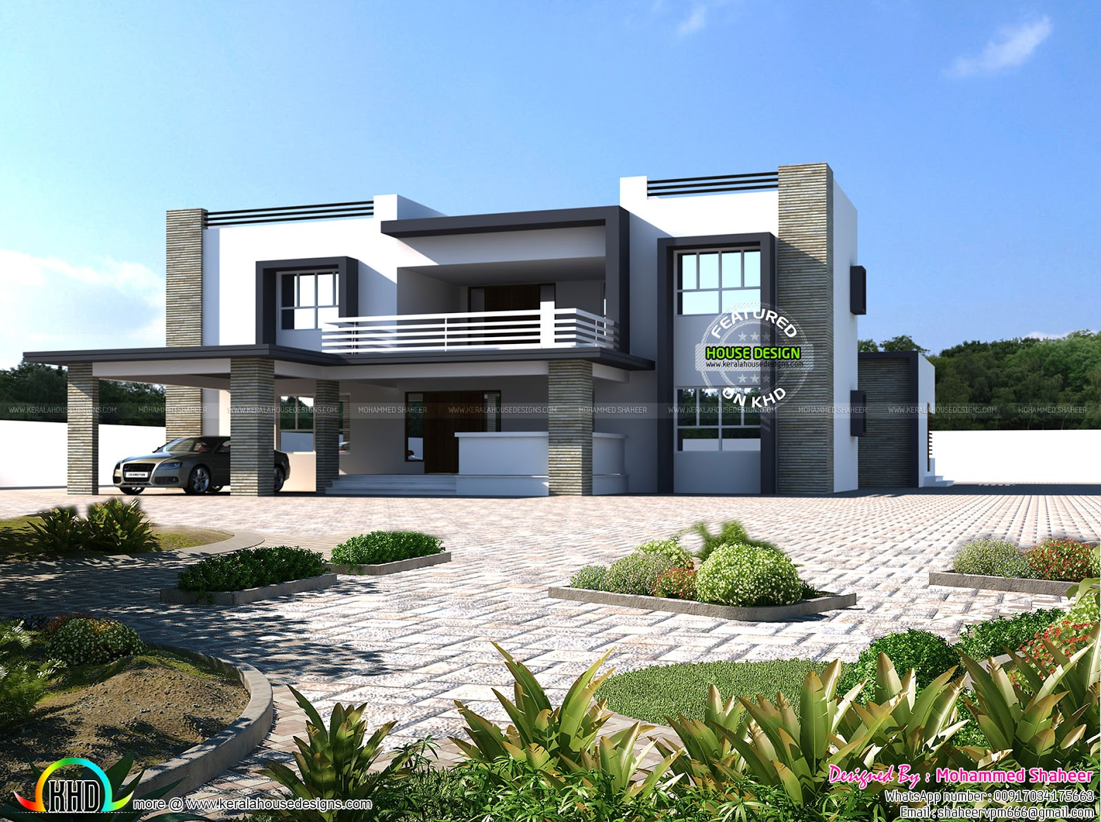 4500 square feet 8 bhk flat roof home kerala home design for Square house design