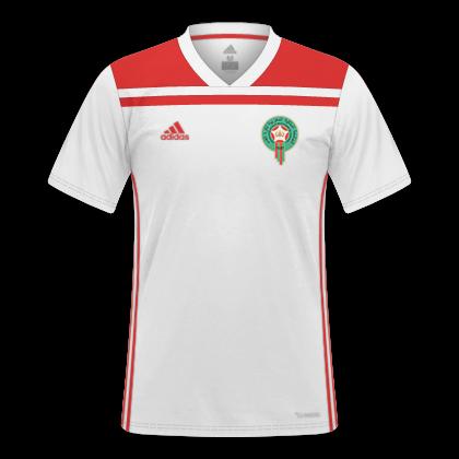 58d22f83e Descrição  Essas são as camisas da Seleção Marroquina usadas na Copa do  Mundo da Rússia 2018. A Adidas usou templates mundiais da marca para fazer  ...