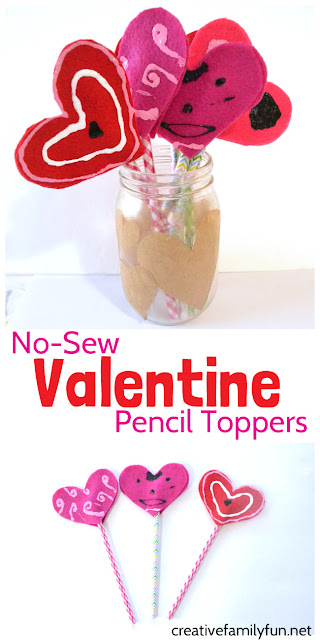 Simple no-sew pencil toppers for Valentine's Day.