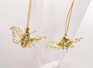Art earrings, gold insect earrings