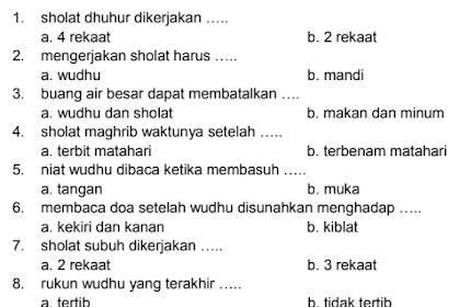 Soal UKK Fiqih Kls 1 MI Semester 2 Kurikulum 2013