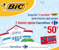 Logo Con BIC vinci buoni spesa Carrefour da 50 €