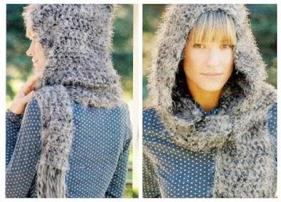 Chal bufanda capucha a tricot y crochet