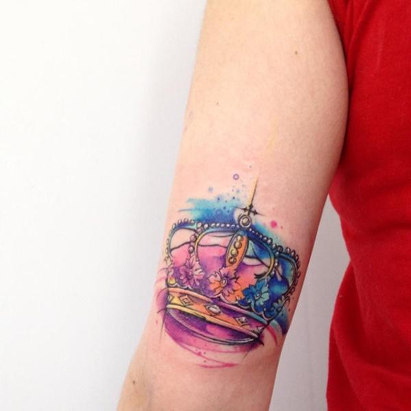 Watercolor Crown Tattoos