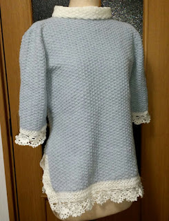 スリット入りプリンセスラインのセーター, crochet sweater,钩针编织羊绒衣
