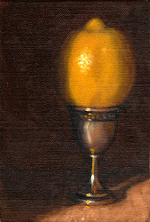 Oil painting of a lemon in a decorative silver-plated egg cup.